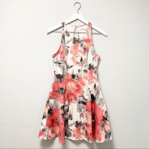 A&F Abstract Floral Print Skater Style Mini Dress